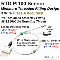 RTD Pt100 Sensor -  Miniature Fitting PFA Lead Wire and Mini 3 Pin Male Connector