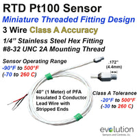 RTD Sensor with Miniature Threaded Fitting and Stripped Wire Leads
