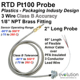 "RTD Sensor Plastics Industry 2"" Long Sheath Armor Cable and NPT Fitting Class B"