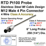 "RTD Probe with M12 Metal Circular Connector 6"" Long Stainless Steel 1/4"" Diameter 4 wire Class A"