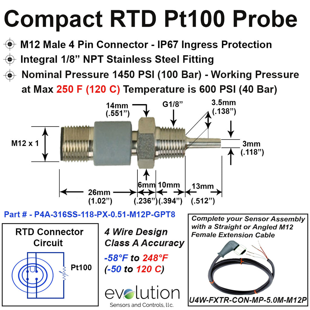 "Rtd Pt100 2 Wire Wiring Diagram: Compact RTD Probe M12 Connector G1/8"" Fitting 1/2"" Long"
