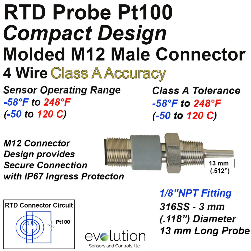 "Compact RTD Probe M12 Connector 1/8 NPT Fitting 1/2"" Long Probe 4 Wire Class A"