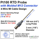 RTD Probe with M12 Molded Connector 100 mm Long Stainless Steel 3 mm Diameter 4-Wire Pt100 Design