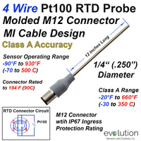 4 Wire Pt100 RTD Probe with M12 Molded Connector 12 Inches Long