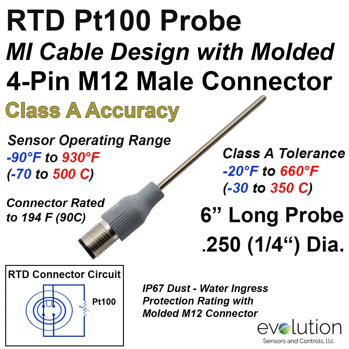 Rtd probe m12 molded connector 6 long stainless steel 14 diameter rtd probe with m12 molded circular connector 6 long stainless steel 14 diameter pt100 4 wire class a greentooth Choice Image