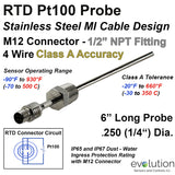 "RTD Probe M12 Metal Connector with 1/2"" NPT Fitting 4 Wire Design"