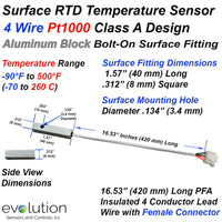 Custom Bolt On RTD Surface Temperature Sensor with Aluminum Fitting and Connector