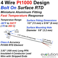 4 Wire Pt1000 Bolt On RTD Surface Temperature Sensor with Lead Wire