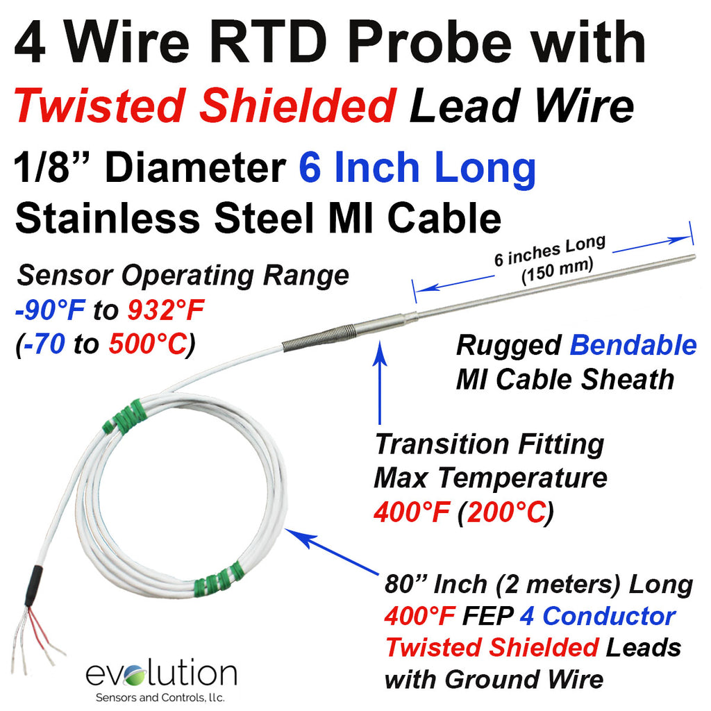 4 Wire RTD Probe 6 Inches Long with Twisted Shielded Lead Wire