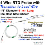 "RTD Probe-4 Wire Metal Transition to Lead Wire-6"" Long x 1/8"" Dia. Class A Accuracy"