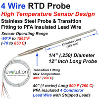 High Temperature RTD Probe 4 Wire Design with Transition to Lead Wire