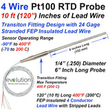"4 Wire Pt100 RTD Probe 1/4"" Diameter with Transition to 10 ft Lead Wire"