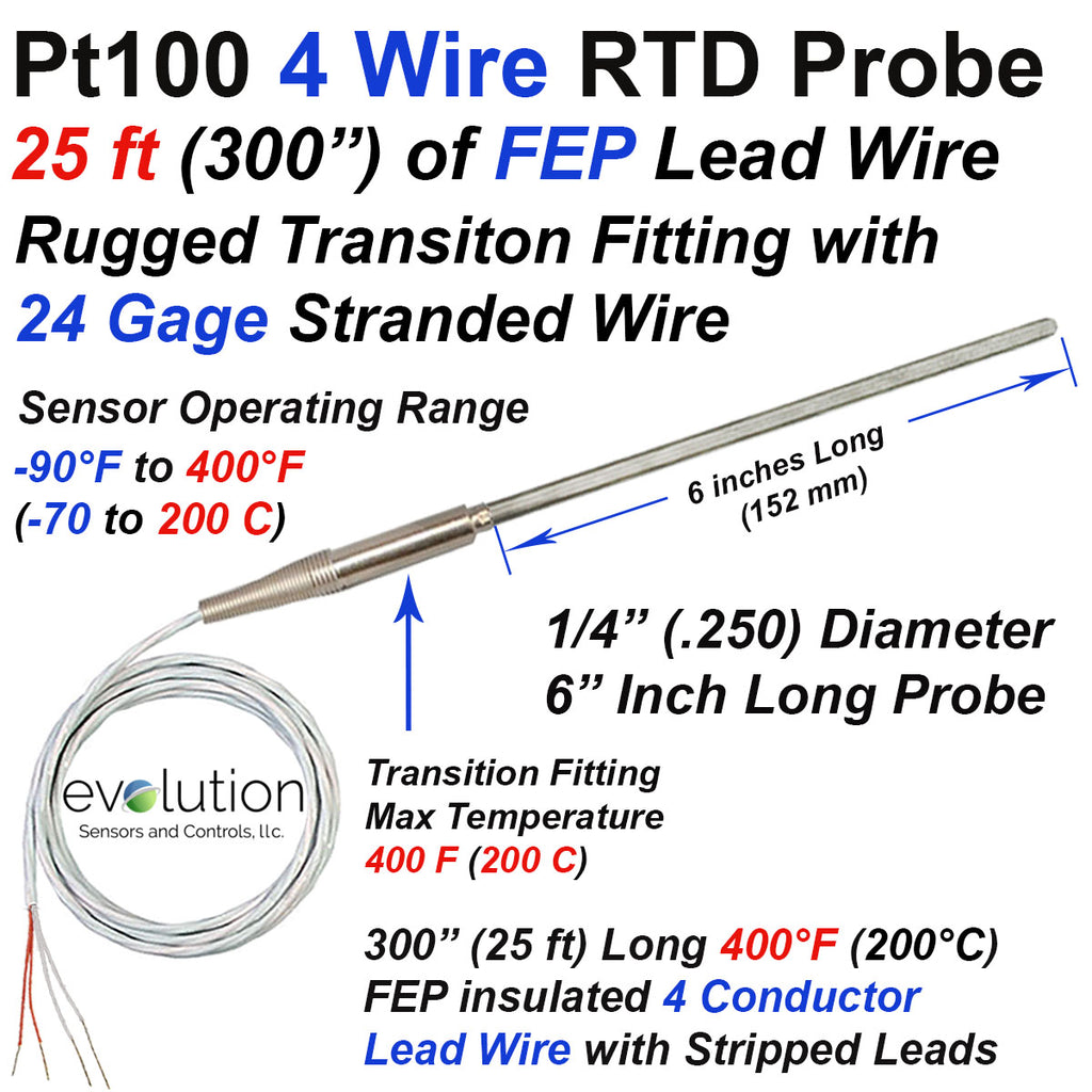 4 Wire RTD Probe with a Transition to 25 ft of Lead Wire