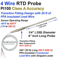 4 Wire Pt100 RTD Probe with Transition to 20 ft Lead Wire