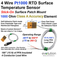 4 Wire Pt1000 RTD Surface Temperature Sensor with 15 ft Leads