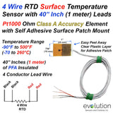 Pt1000 4 Wire RTD Surface Temperature Sensor with 1 Meter Long Leads