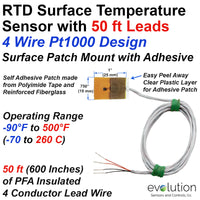 4 WirePt1000 RTD Surface Patch Temperature Sensor with 50 ft Leads