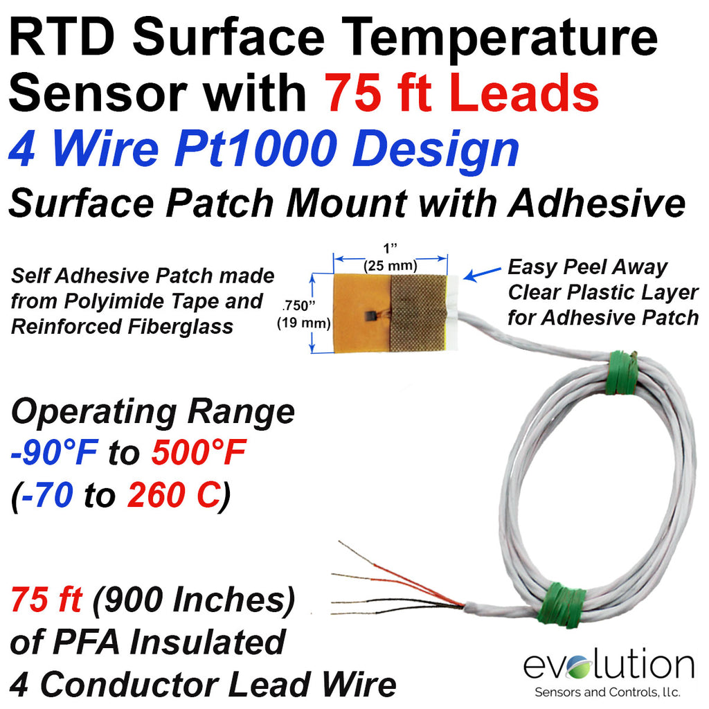 4 Wire Pt1000 RTD Surface Patch Temperature Sensor with 75 ft Leads