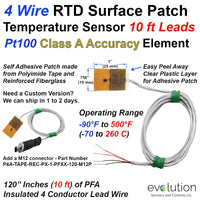 4 Wire Pt100 Surface Patch RTD Temperature Sensors with 10 ft Leads