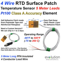 4 Wire Pt100 Surface Patch RTD Temperature Sensor with 5 Meter Leads