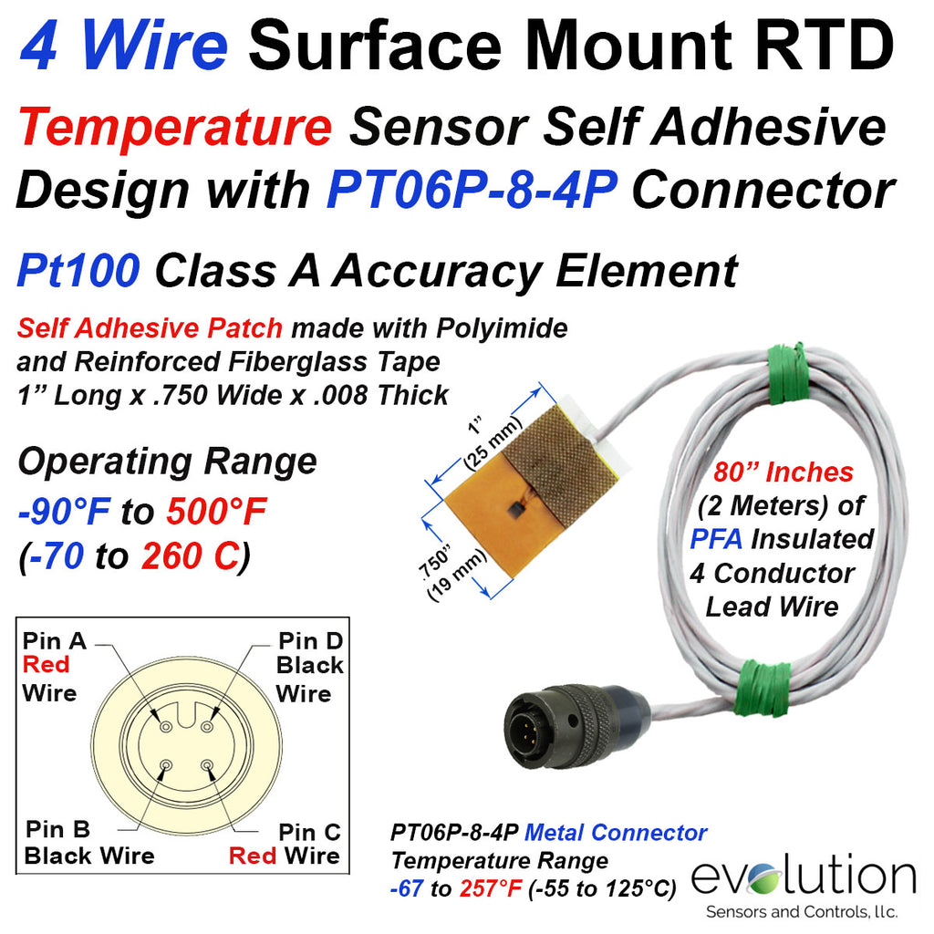 4 Wire RTD with Surface Mount Patch and 4 Pin Metal Circular Connector