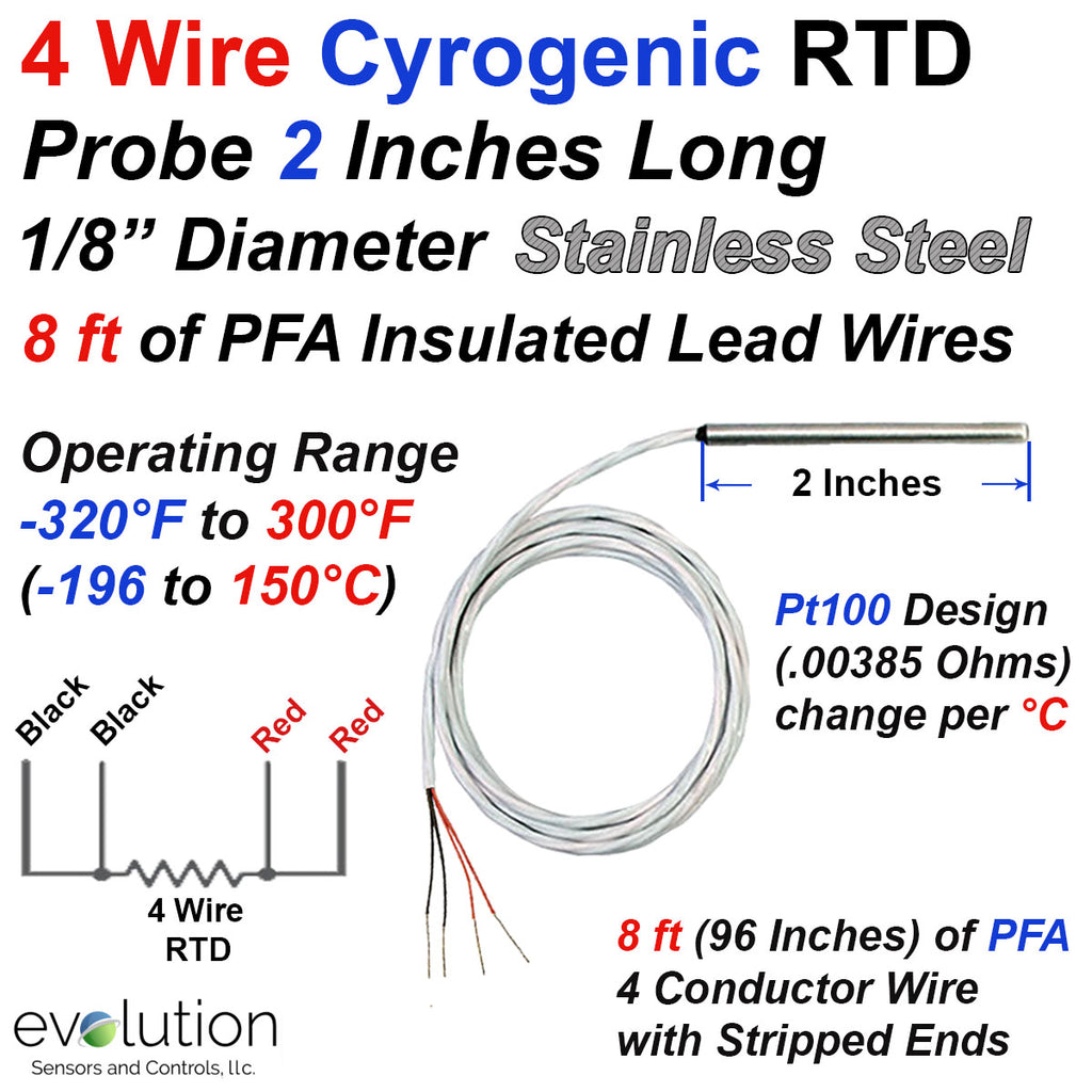 "Cryogenic RTD Probe 2 Inches Long 1/8"" Diameter with 8 ft of Lead Wire"