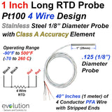 "4 Wire Pt100 RTD Probes 1/8"" Diameter 1 to 6 Inch Long Stainless Steel Sheath with 40 Inches of PFA Lead Wire"