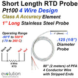 "Short RTD Probe 1 Inch Long 1/8"" Diameter 4 Wire Design"