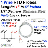4 Wire RTD Probes 1 to 6 Inches Long