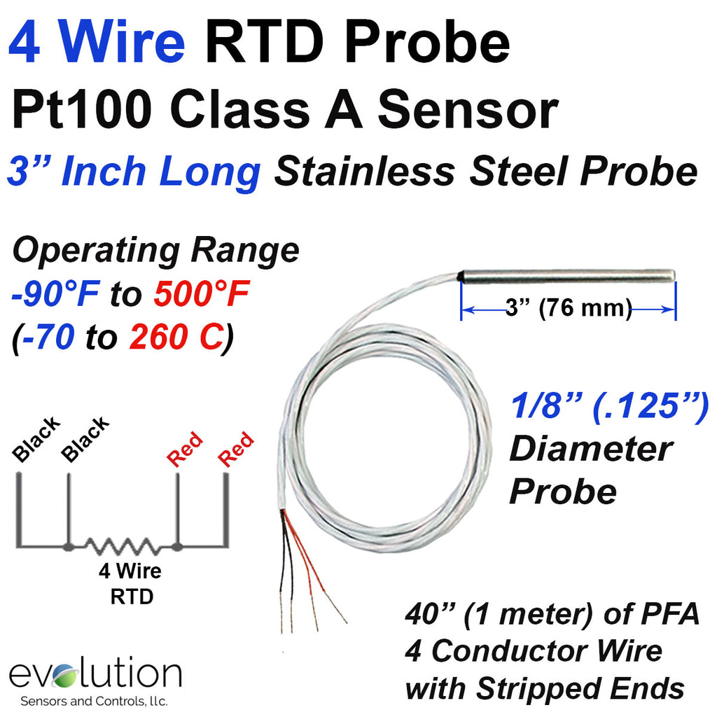 "4 Wire Pt100 RTD Probe 3 Inches Long 1/8"" Diameter with PFA Lead Wire"