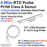 "4 Wire RTD Probe 1/4"" Diameter 6 Inch Long Stainless Steel Sheath with 40 Inches (1 Meter)  of PFA Lead Wire"
