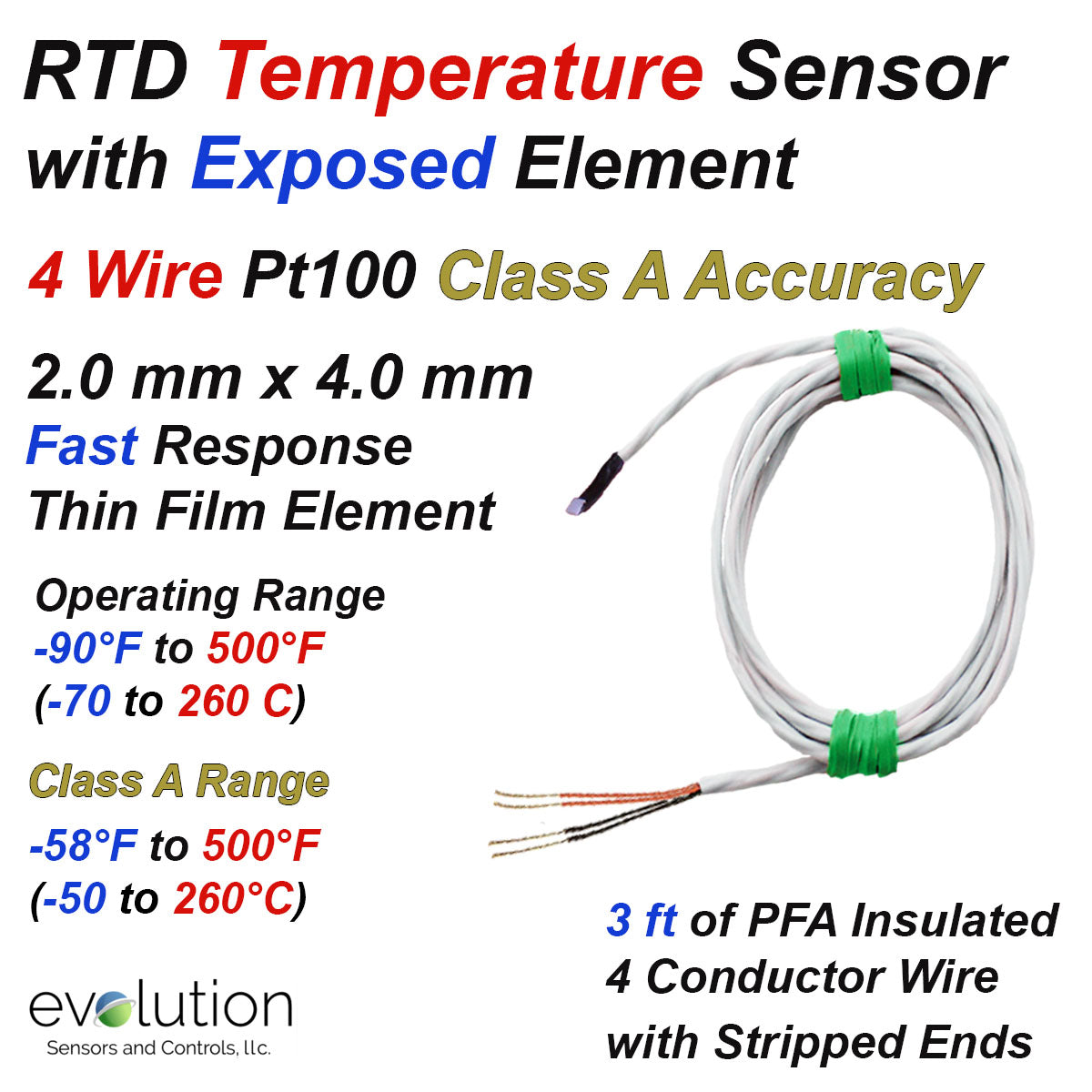 Rtd Sensor Fast Response 2 Mm X 4 Mm Element 4 Wire Pt100