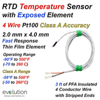 4 Wire RTD Temperature Sensor Fast Response 2mm x 4mm Exposed Element