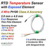 RTD Sensor Fast Response Exposed Element 4 Wire Pt100 Class A Accuracy