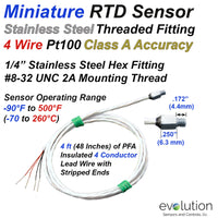 Miniature RTD Sensor 4 Wire Design with Threaded Fitting 4ft Lead Wire