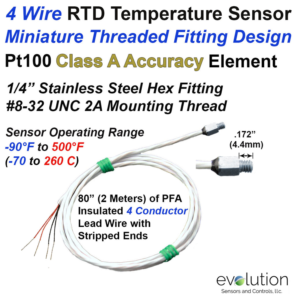 4 Wire RTD Sensor with Miniature Threaded Fitting 80 Inch Wire Leads