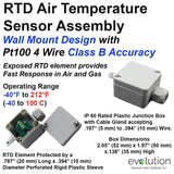 Air Temperature RTD Sensor Wall Mount Design - 4 Wire Class B Accuracy