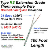 Type RS Thermocouple Extension Wire with Fiberglass Insulation