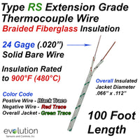 RS Type Thermocouple Extension Wire Fiberglass Insulated 24 Gage Solid