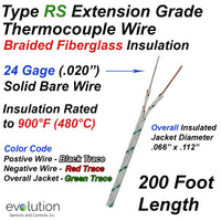 R and S Type Thermocouple Extension Wire - Fiberglass Insulated 24 Gage - 200 Ft Long Spool