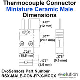 Type RS Miniature Male Ceramic Thermocouple Connector Dimensions