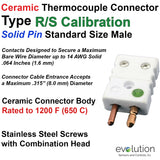 Ceramic Thermocouple Connector Type RS Standard Male with Solid Pins