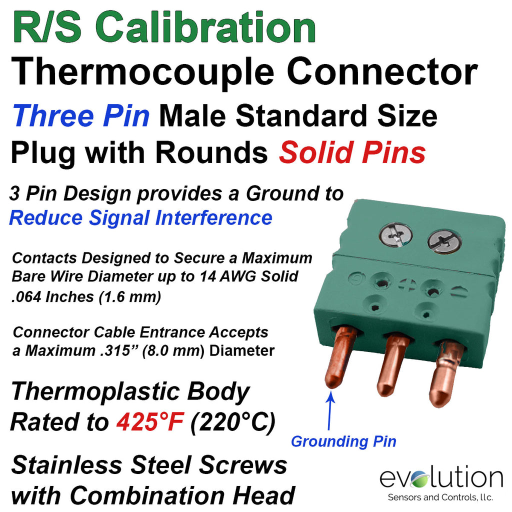 Type R/S Three Pin Standard Size Male Thermocouple Connector