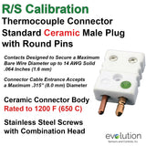 Ceramic Thermocouple Connector | Type RS Standard Size Male