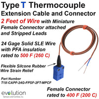 Type T Thermocouple Extension Cable with Female Connector and Stripped Leads