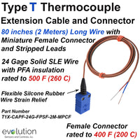 Type T Thermocouple Extension Cable and Connector