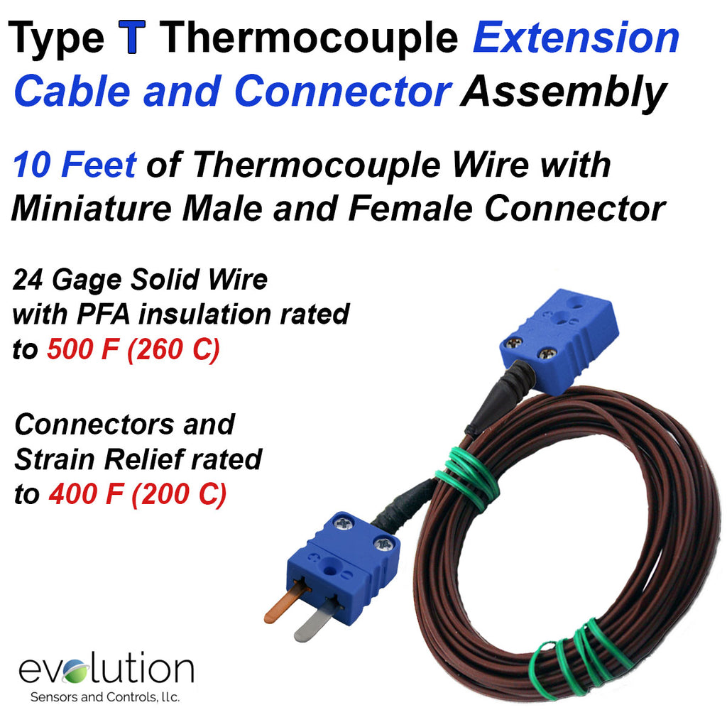 Type T Thermocouple Extension Cable with Male and Female Connectors
