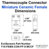 Miniature Female Ceramic Thermocouple Connector Dimensions Type T
