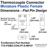 Miniature Thermocouple Connectors, Miniature Female, Type T Dimensions