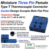 Type T Thermocouple Connector Miniature Female Three Pin Design